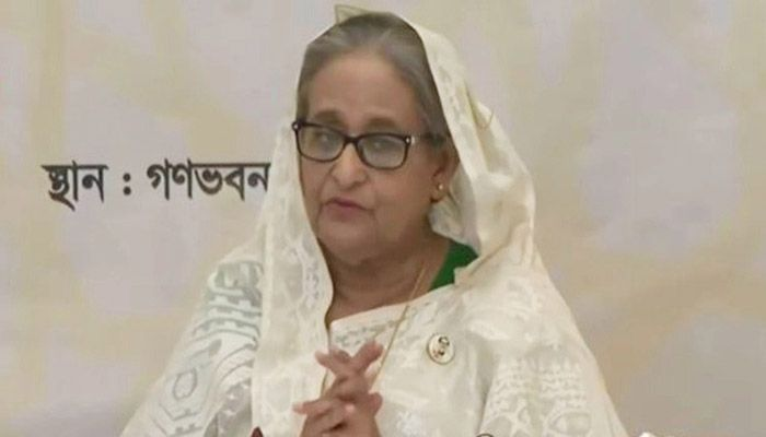 PM Sheikh Hasina was addressing the inauguration ceremony of 50 model mosques and Islamic cultural centers at Osmani Memorial Auditorium in the capital, joining virtually from her official residence Ganabhaban this morning. || Photo: Collected