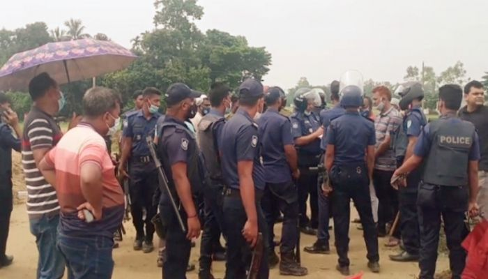 So far, five people have been arrested over the incident in a clash with villagers in the Adarbazar area of Sunamganj Sadar. || Photo: Collected