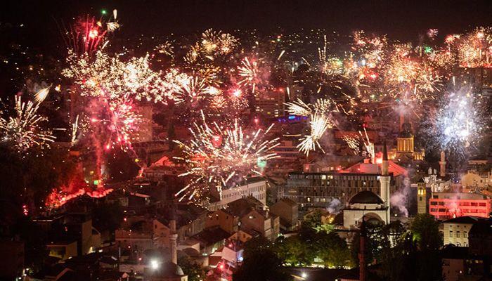 (Sarajevo, Bosnia and Herzegovina) Fireworks light the night sky during Football Club Zeljeznicar's celebration of its 100th birthday in the Bosnian capital of Sarajevo.    Photograph: Anadolu Agency/Getty Images