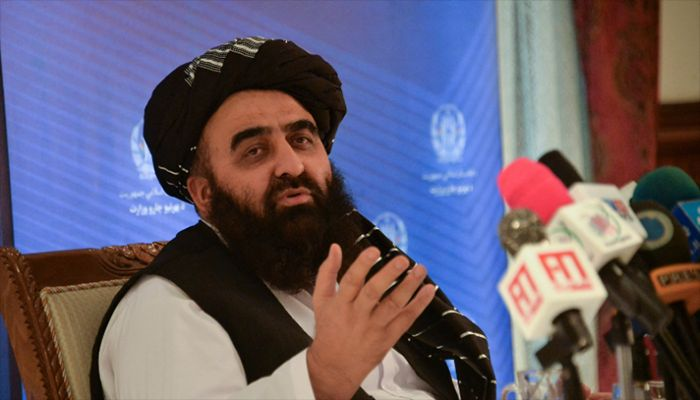Afghanistan's Foreign Minister Amir khan Muttaqi gestures as he speaks during a press conference at the Foreign Ministry of Afghanistan in Kabul on September 14, 2021. || AFP Photo: Collected